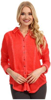 Free People Zahara Buttondown Shirt (Cherry) - Apparel