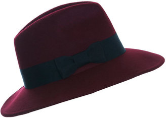 Miss Selfridge Burgundy fedora hat