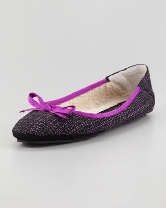 Jacques Levine Inslee Bow Faux-Shearling Slipper, Purple Tweed