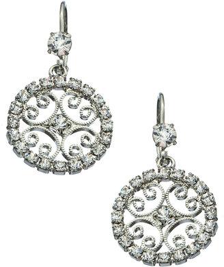 Roberta Chiarella Platinum and Swarovski Elements Scroll Lace Drop Earrings