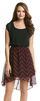 Amy Byer A Byer A. Byer Juniors' Chevron High Low Dress