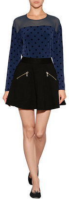 Juicy Couture Jersey Top with Flocked Polka Dots