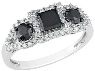 1 CT. T.W. Black and White Diamond in 10K White Gold Cocktail Ring