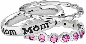 """Swarovski Stacks & Stones Sterling Silver Crystal Eternity, Beaded & """"Mom"""" Ring Set - Made with Crystals"""