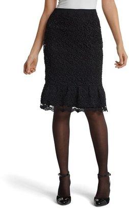 White House Black Lace Flounce Pencil Skirt