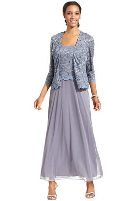 Alex Evenings Dress and Jacket, Sleeveless Sequin Lace Gown