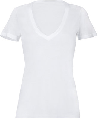 Splendid White Short Sleeve Lightweight V-Neck T-Shirt