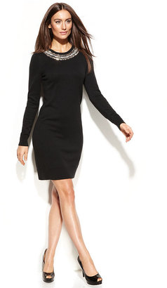 MICHAEL Michael Kors Long-Sleeve Angora-Blend Jewel Sweater