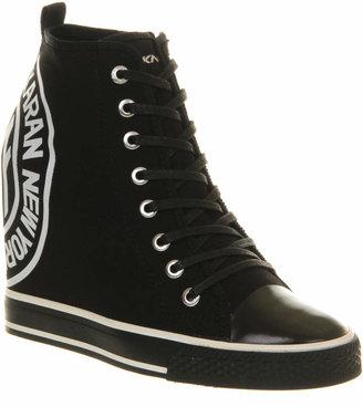 Grommet Wedge Sneaker Black Canvas