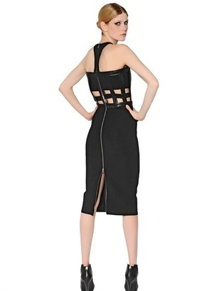 David Koma Viscose Jersey And Nappa Leather Dress
