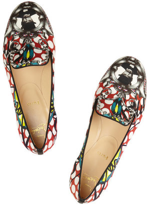Christian Louboutin Sakouette printed cotton-sateen loafers