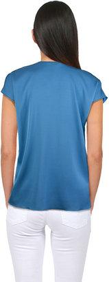 Vince Cascade Short Sleeve Blouse in Blue