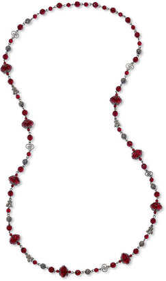 JCPenney JCP Hematite & Red Bead Long Strand Necklace