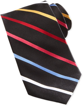 Neiman Marcus Bias Stripe Silk Tie in Box, Multicolor