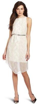 Kensie Women's Cable Knit Chiffon Dress