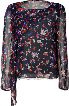 Vanessa Bruno Navy Floral Silk Top