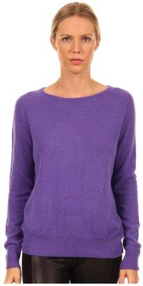 Tibi Ribbed Mohair Easy Long Raglan Sleeve Sweater (Violet) - Apparel