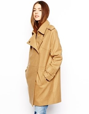 Asos Cocoon Double Breasted Coat - Camel