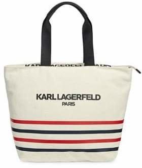 Karl Lagerfeld Paris Stripe Canvas Tote