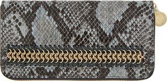 Stella McCartney Grey Snakeskin Bailey Boo Zip-Around Wallet