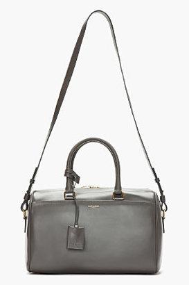 Saint Laurent Charcoal grey buffed leather duffle 6 bag