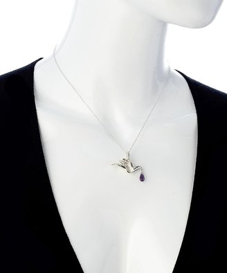 Charmed Circle Silver Sparrow And Amethyst Teardrop Pendant Necklace