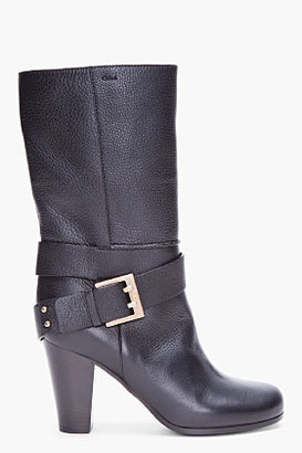 Chloé Black Leather Rabbit Fur Lined Boots