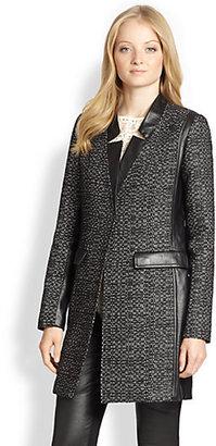 Nanette Lepore Big Top Leather-Trim Coat