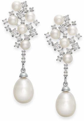 Arabella Cultured Freshwater Pearl and Swarovski Zirconia Drop Earrings in Sterling Silver (4 & 8mm)