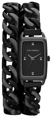 Karl Lagerfeld 'Kourbe' Double Wrap Bracelet Watch, 20mm x 30mm