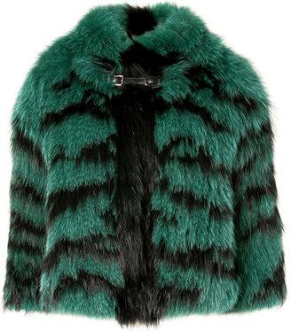 Roberto Cavalli Emerald-Black Fade Fox Fur Jacket