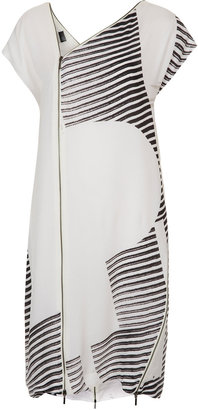 Unique **Silk Stripe Zip Dress