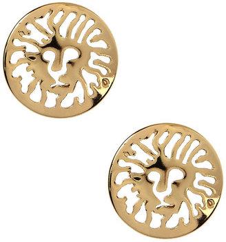 Anne Klein Gold-Tone Logo Lion Stud Earrings