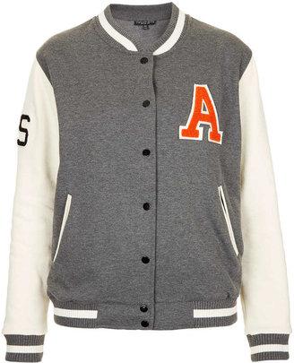 Topshop Petite Jersey Varsity A Bomber Jacket