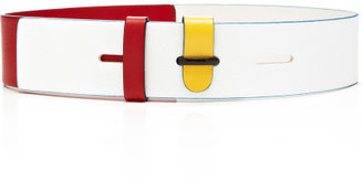 Prabal Gurung Preorder White, Red And Yellow Leather Belt