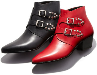 Saint Laurent Studded Double Monk Ankle Boot, Red