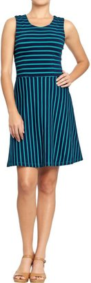Old Navy Women's Striped Ponte-Knit Fit & Flare Dresses