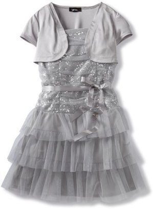 Amy Byer Girls 7-16 Plus-Size Sequin Bodice Mesh Tiered Dress With Shrug