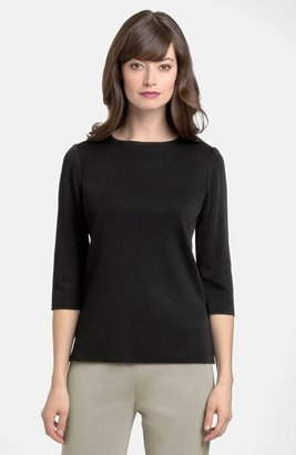 Women's Ming Wang Three Quarter Sleeve Crewneck Knit Shell $160 thestylecure.com