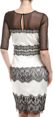 Jax Lace/Satin Sheath Dress, Black/Ivory