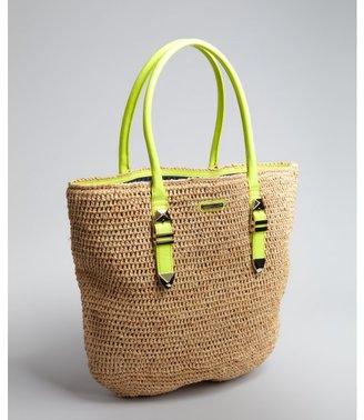 Rebecca Minkoff neon yellow patent leather handle straw 'Boyfriend' tote bag
