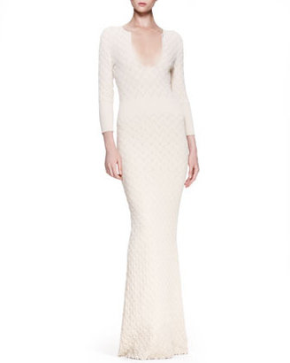 Alexander McQueen Ribbed Leaf Knit Gown, Cream