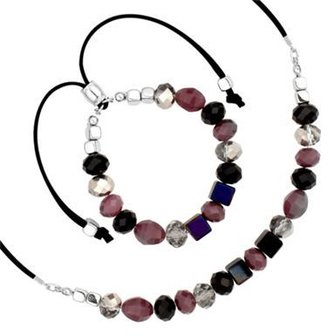 Mini purple and jet bead stacker necklace and bracelet set