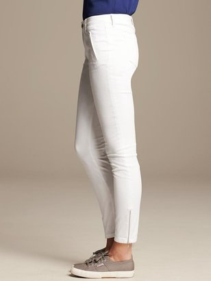 Banana Republic White Skinny Ankle Zip Pant