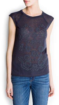 MANGO Textured floral print t-shirt