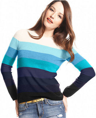 Charter Club Sweater, Long-Sleeve Striped Crew-Neck Cashmere