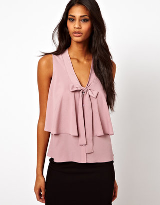 Asos Sleeveless Blouse With Drop Pussybow And Ruffle