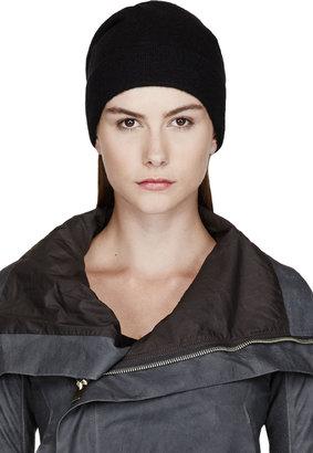 Rick Owens Black Wool Oversize Beanie