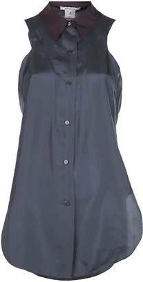 Carven Sleeveless Silk Habotai Shirt