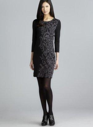Walter Lauren 3/4-Sleeve Printed Knit Dress
